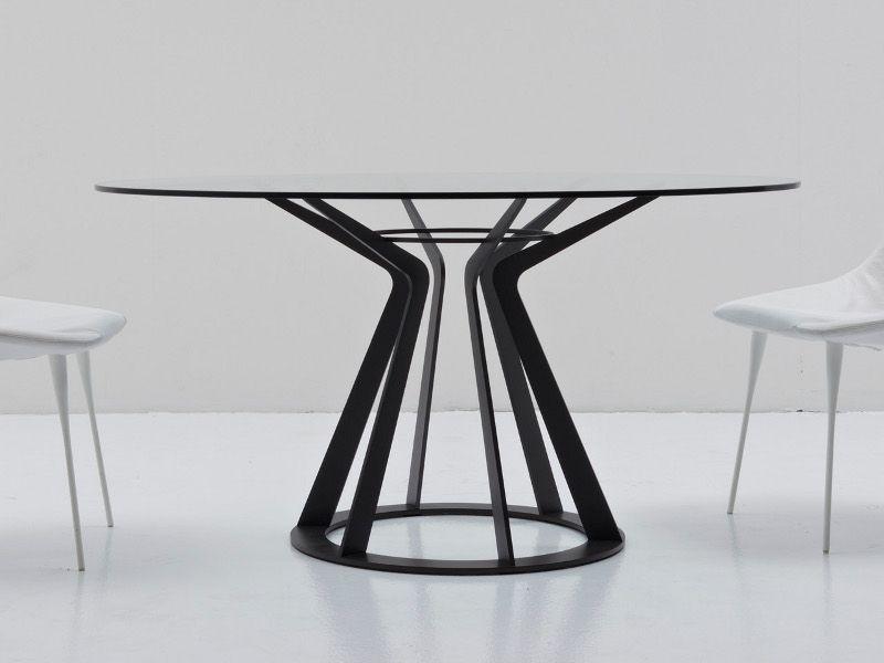 Tavoli Rotondi Cristallo Design.Tavolo Rotondo In Cristallo Mitos By Nube Italia Design Giuliano