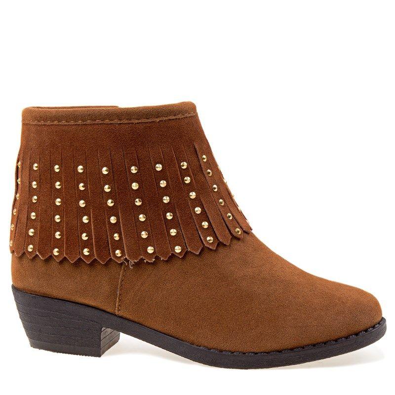 Kensie Girl Kids' Fringe Ankle Boot Pre/Grade School Boots (Tan Suede)