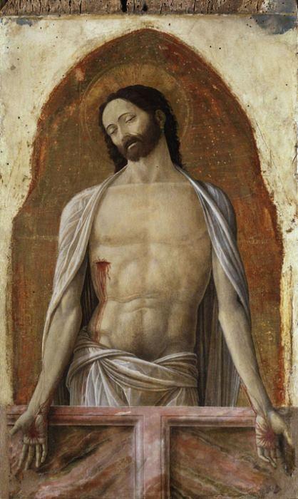 """Andrea Mantegna, """"Cristo in pietà tra la Madonna e san Giovanni"""" (dett.), 1453-1455, Milano, Pinacoteca di Brera"""
