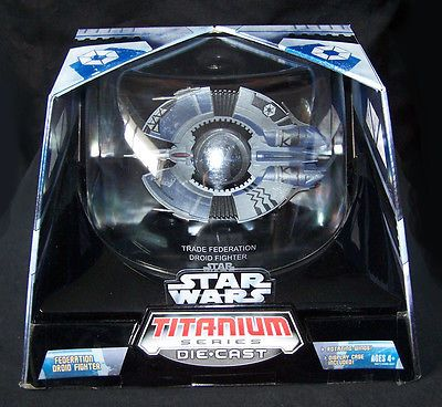 """STAR WARS FEDERATION DROID FIGHTER Titanium Series DIE CAST NEW MIP 6"""" UNOPENED"""