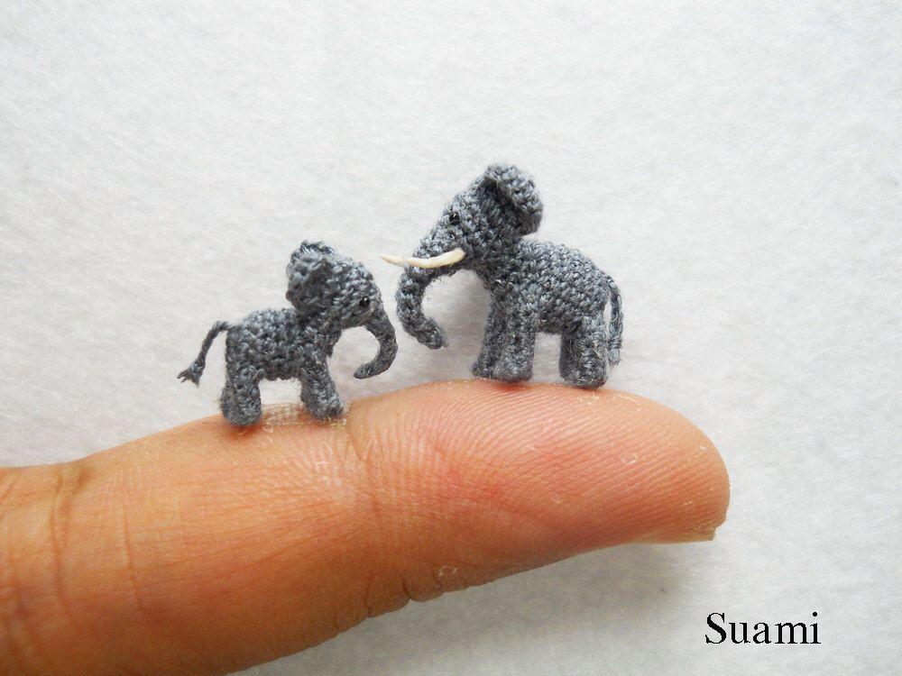 Extreme Tiny Elephants - Micro Mini Amigurumi Crochet Miniature ...