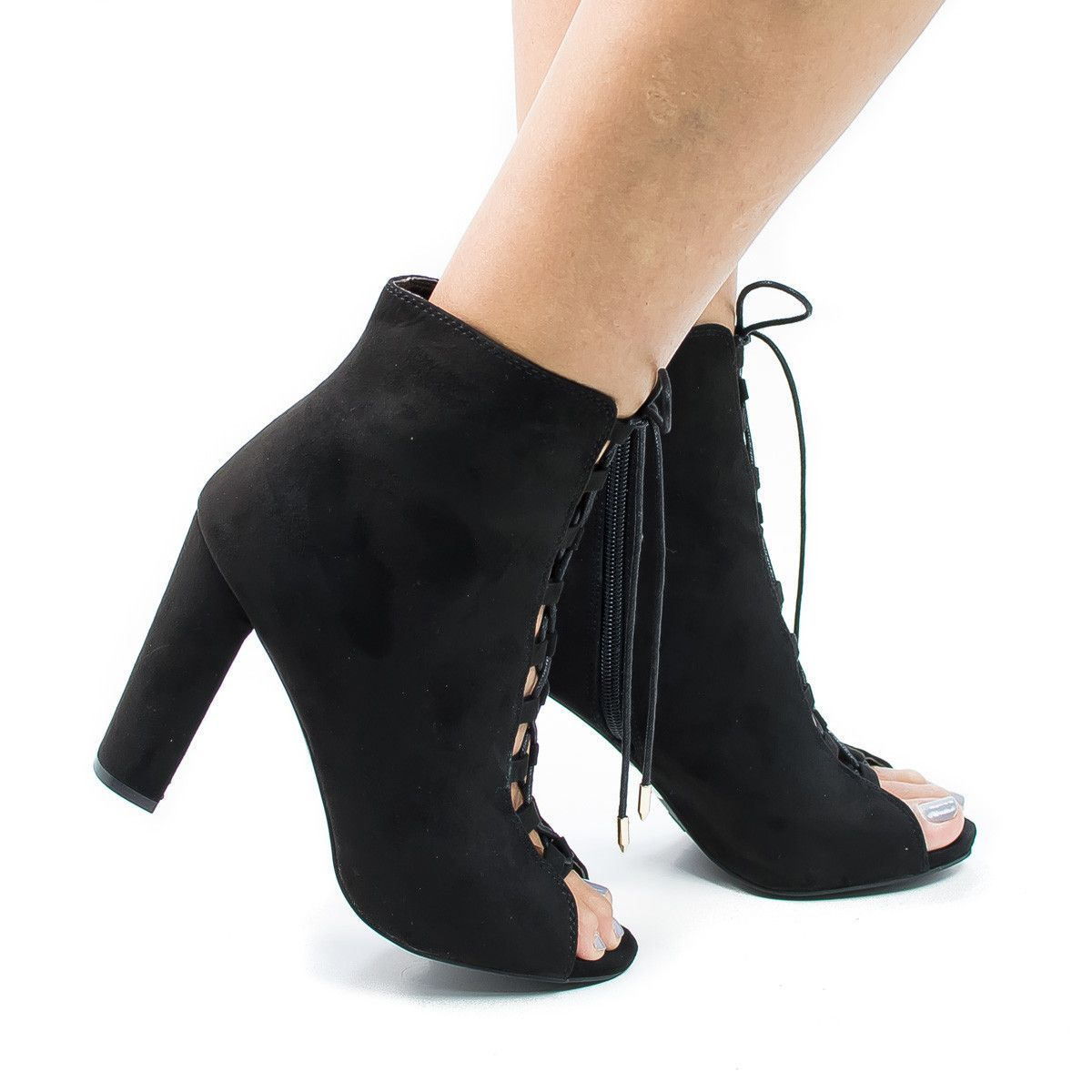 Morris12 Black Suede Retro Corset Lace Up Peep Toe Blocked Heel Ankle Booties