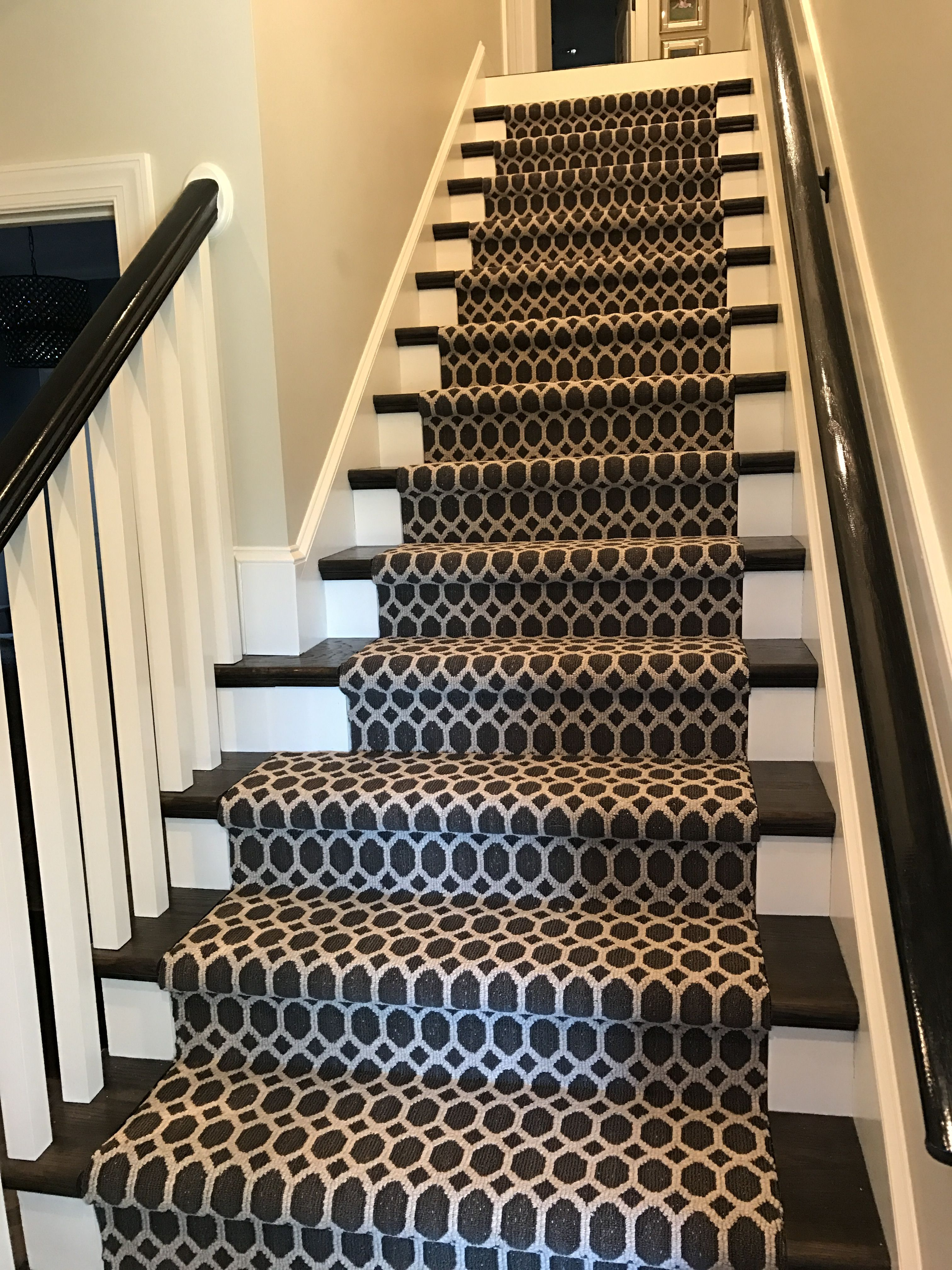 Stair Runner Charcoal Gray Geometric Shape Stairway Carpet | Stair Runners For Carpeted Stairs | Round Corner | Marble | Hardwood | Commercial | Tile Stair