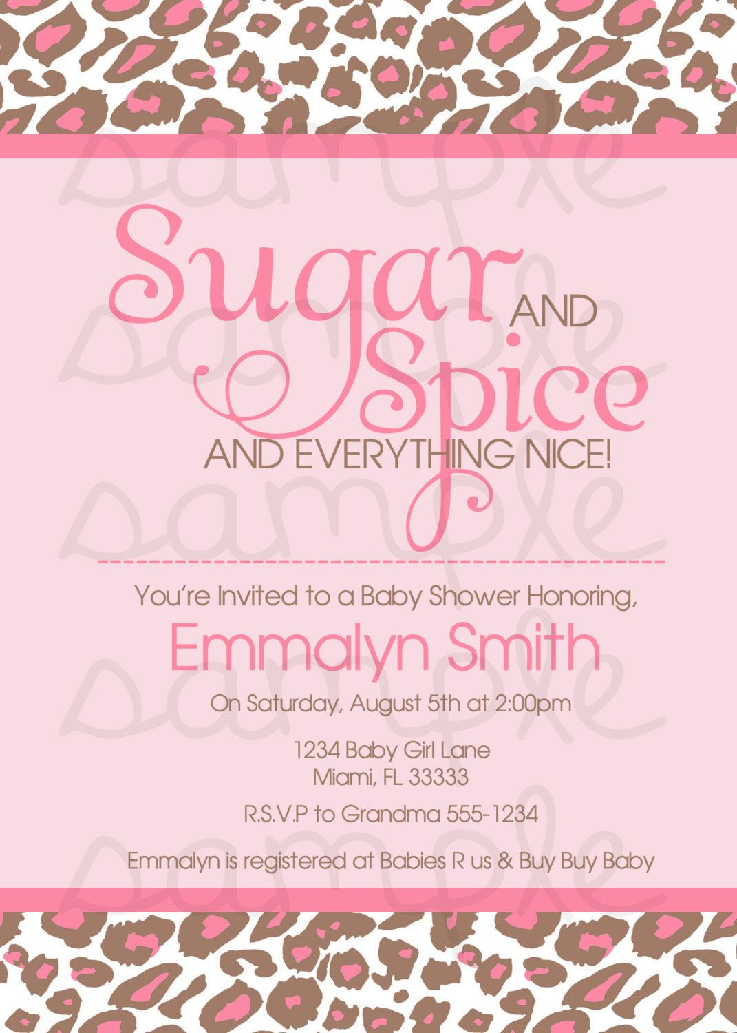 Sugar & Spice and Everything Nice Baby Shower Invitation Digital ...