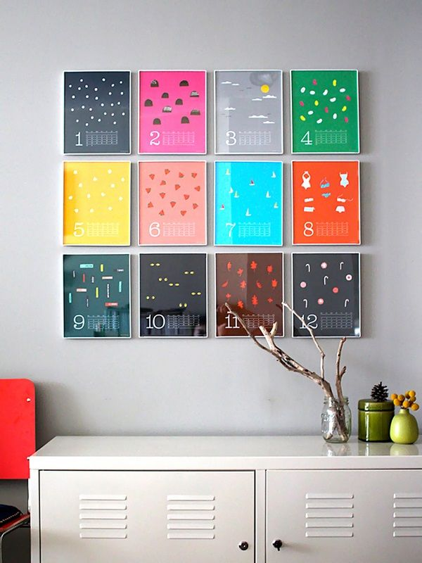 Colorful Wall Calendar As Wall Art Mixing Patterns, colors and ...