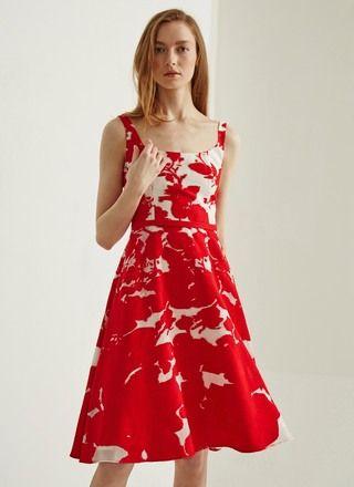 vestido de cóctel evasé -en un delicado tejido devoré rojo y blanco