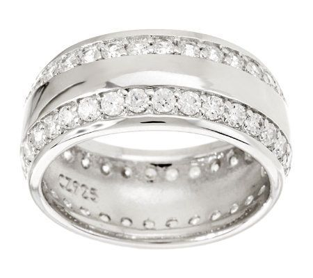 Epiphany Diamonique Wide Band Eternity Ring Qvc Com Eternity Ring Bling Jewelry