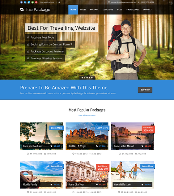 This Travel Agency Wordpress Theme Offers A Booking Form