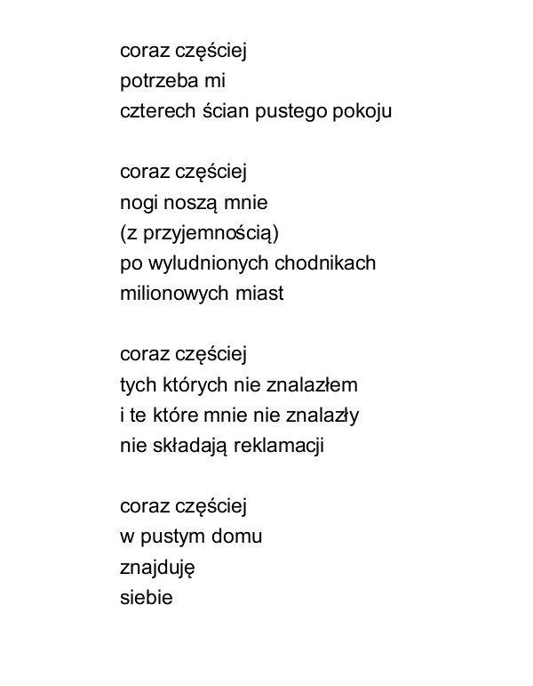 Pochwała Samotności Jarosław Borszewicz Wiersze Cytaty