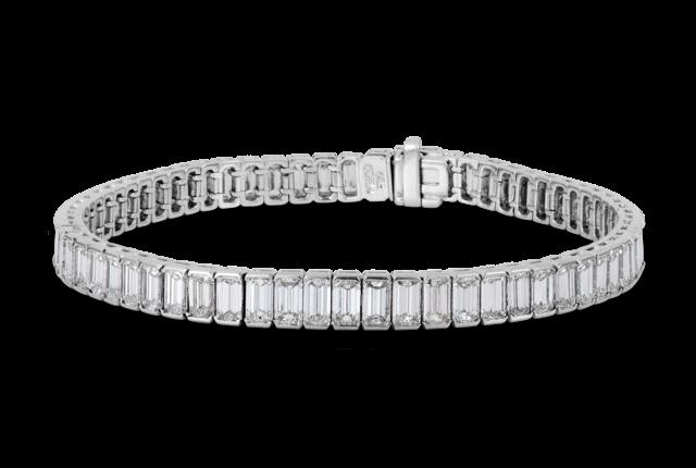 Emerald Cut Diamond Tennis Bracelet In Platinum 1346
