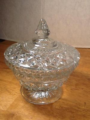 Vintage Pedestal Diamond Cut Glass Candy Bowl Dish With
