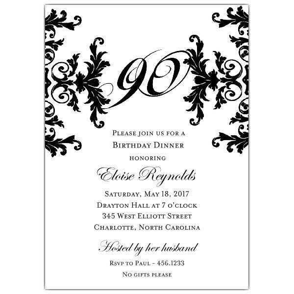 Black+and+White+Decorative+Framed+90th+Birthday+Invitations - birthday card template