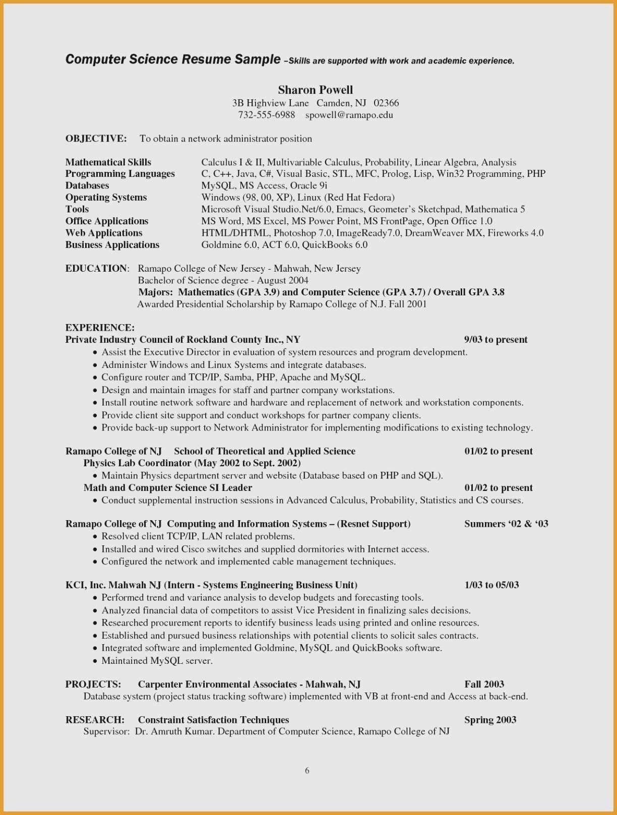 Computer Science Resume Example Data Scientist Resume Resume Objective Examples Resume Examples Student Resume Template