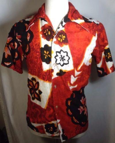 Penneys Hawaii Hawaiian Shirt Small Mens Barkcloth Pointy Collar Blood Orang VTG