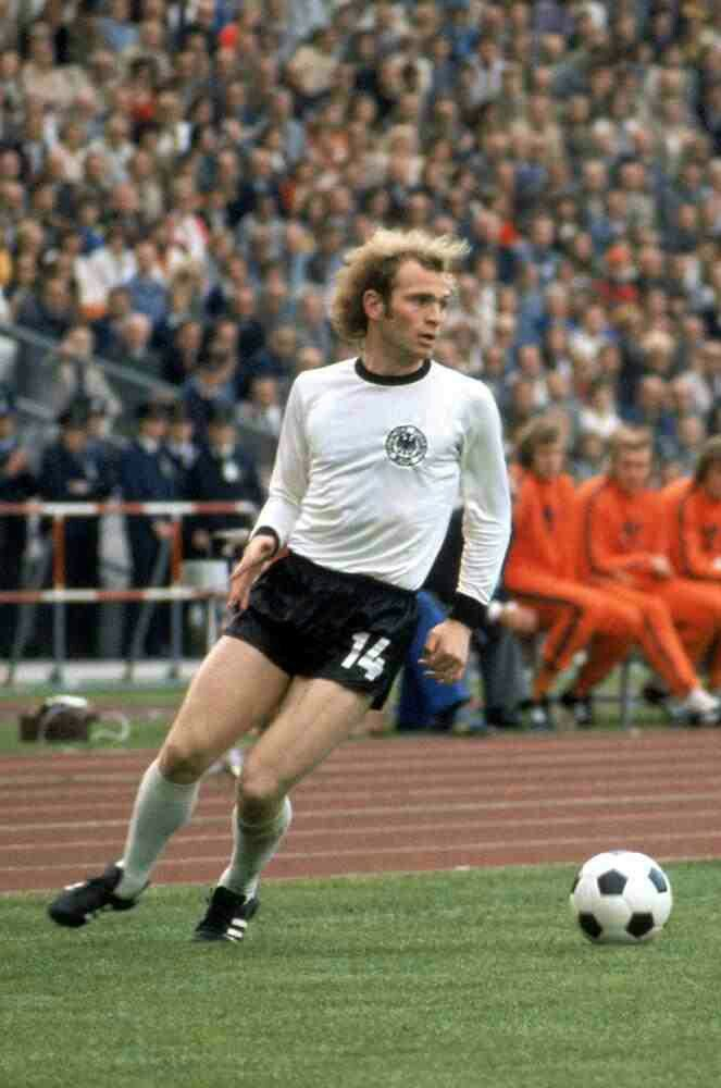Uli Hoeness of West Germany at the 1974 World Cup Finals.