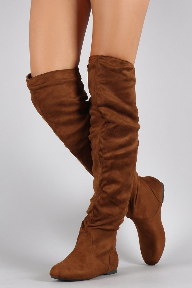 80981e1a8e40f Sexy Suede Slouchy Thigh High Flat Boot  NatureBreeze  Casual ...