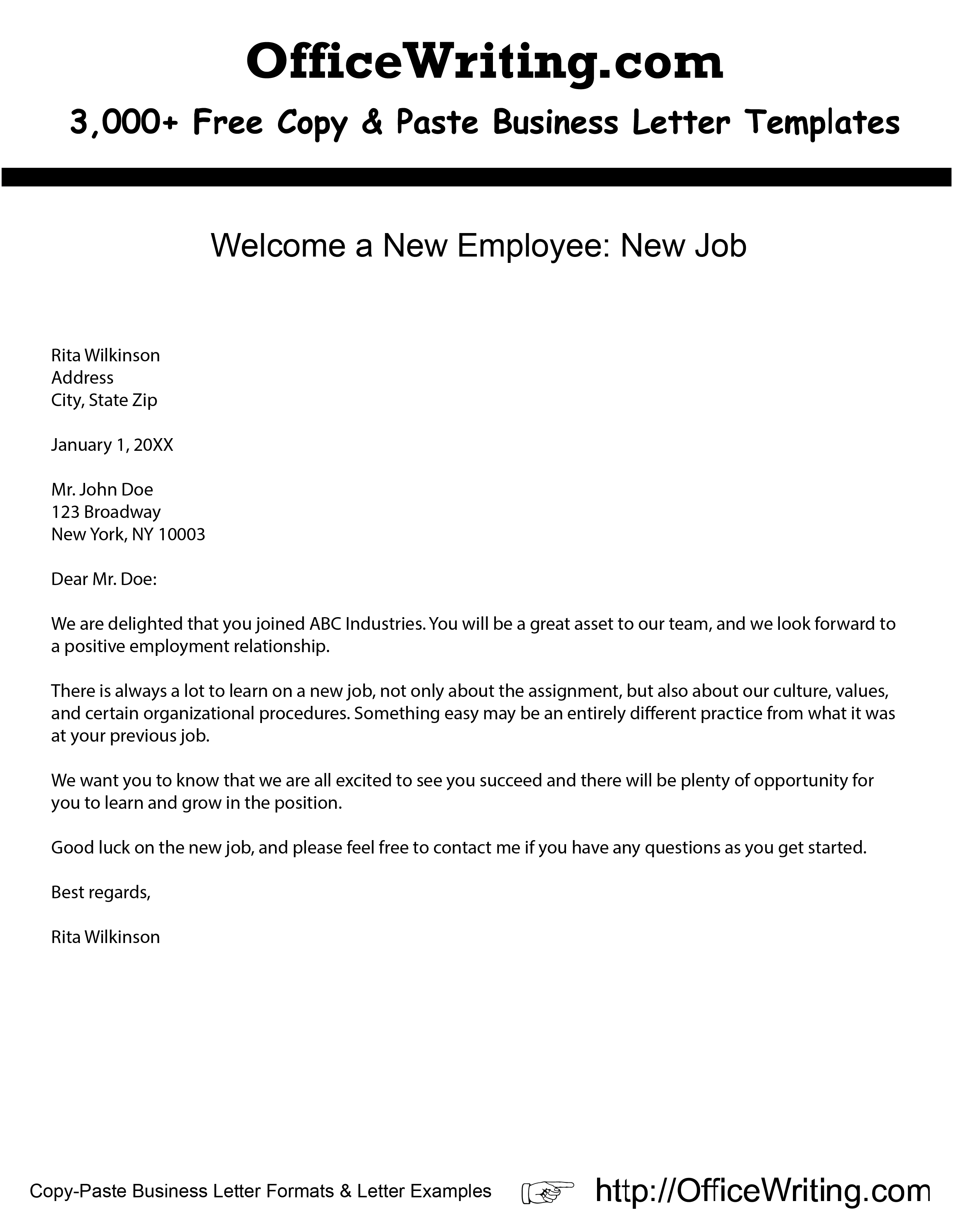 Sample Welcome Letter New Employee from i.pinimg.com