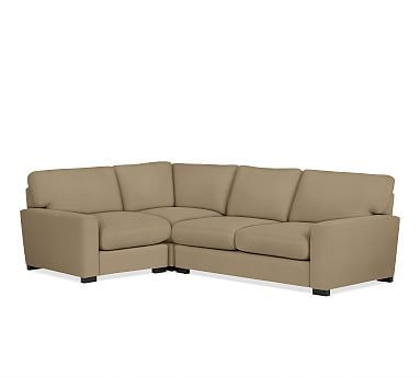 Turner Square Arm Upholstered Right Arm 3-Piece Corner Sectional without Nailheads, Down Blend Wrapped Cushions, Twill Walnut