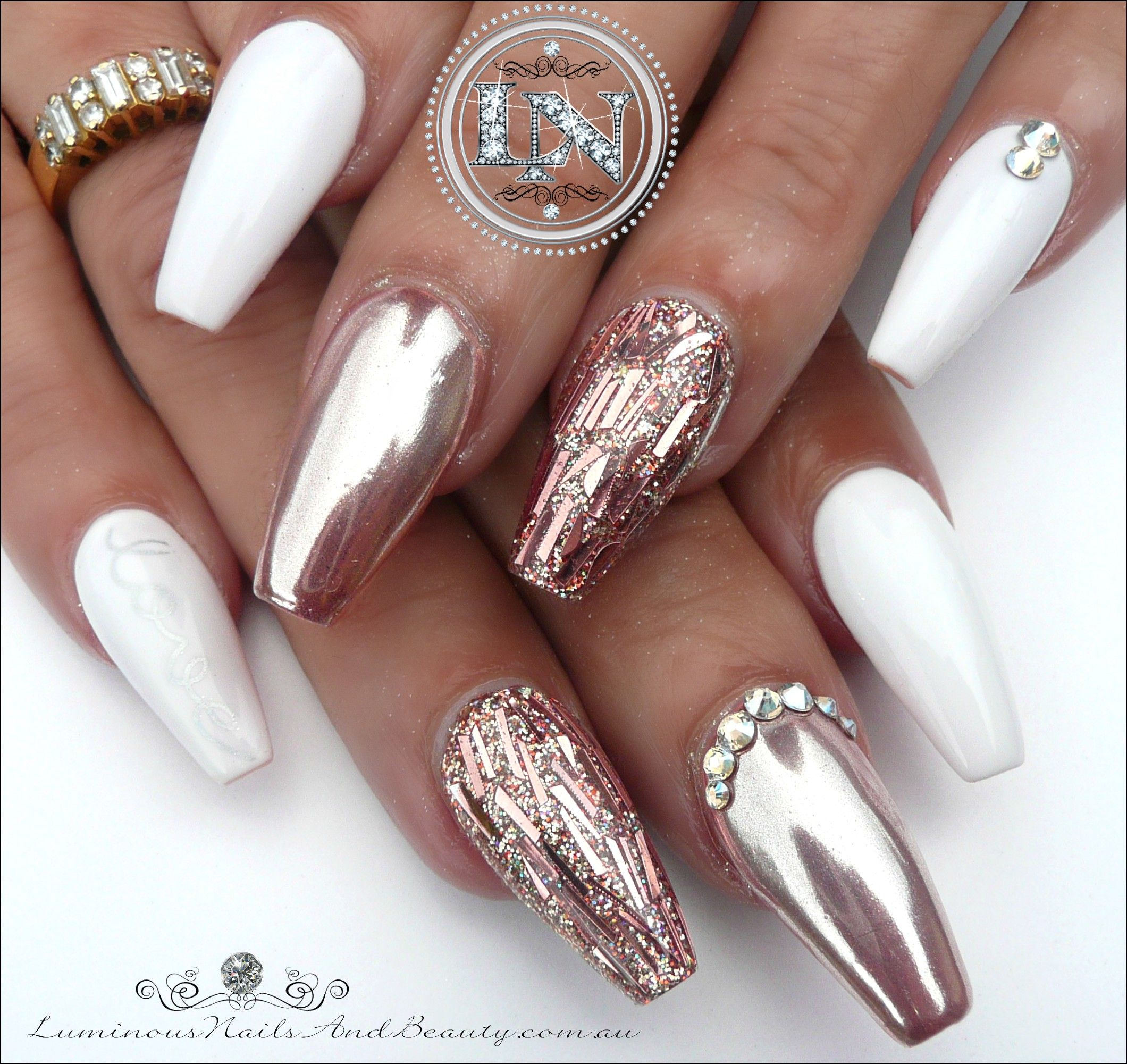 Glamorous Rose Gold Chrome & White Sculptured Acrylic Ballerina ...