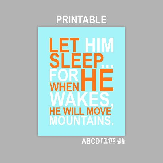 Digital Nursery baby Boy quote print Let Him Sleep... by MiraDoson, $6.00