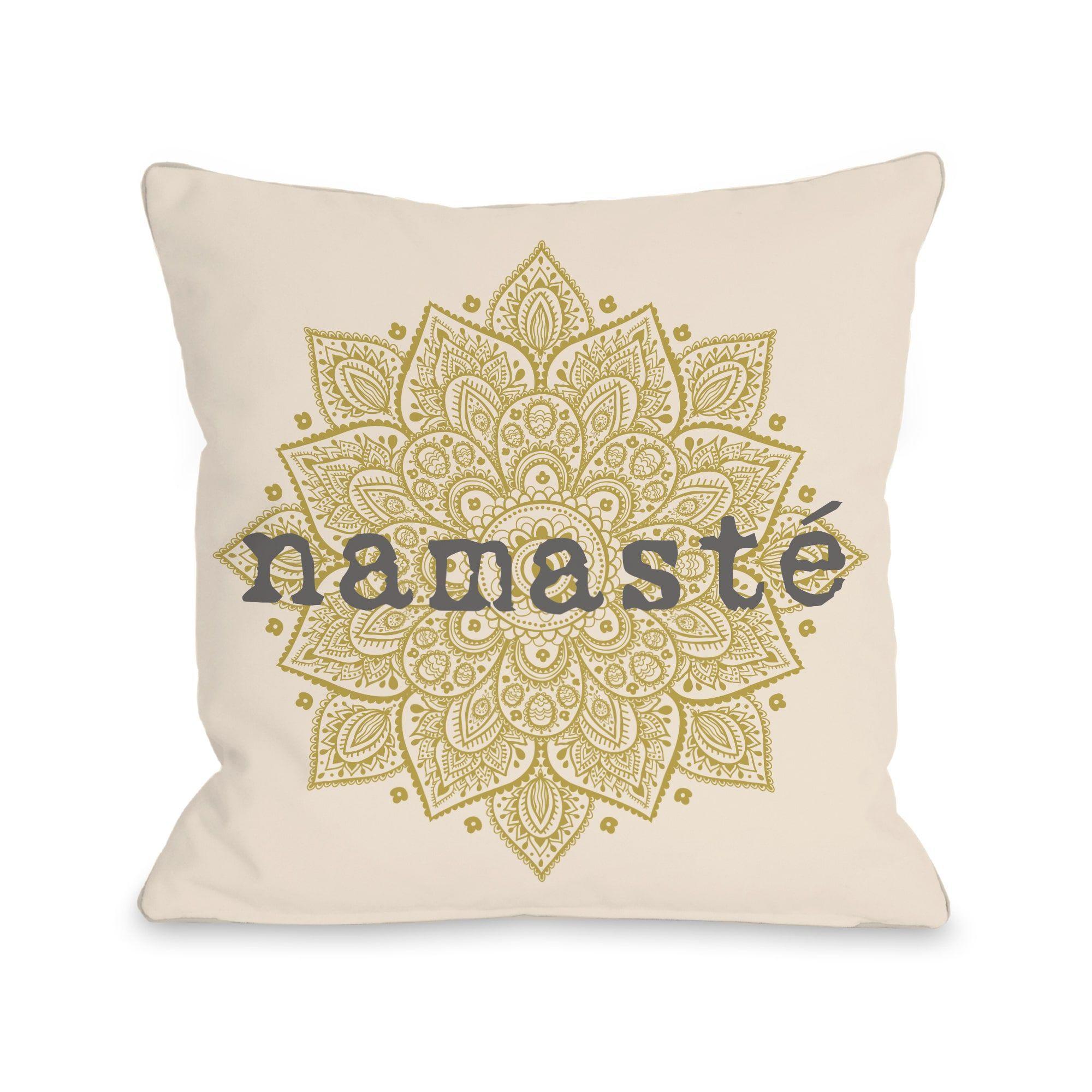 One bella casa namaste ivory oil yellow or inch throw pillow
