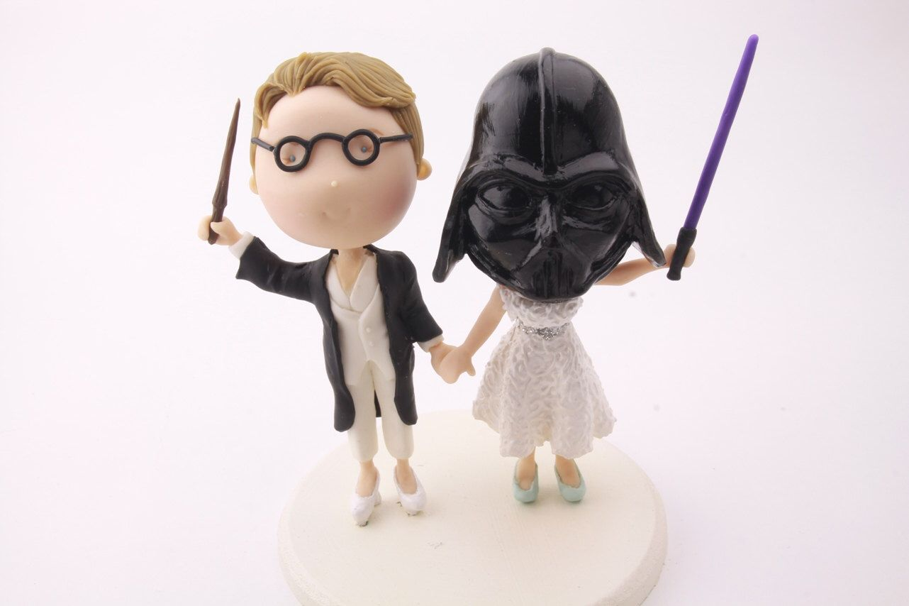 Witch and Sith wedding. Harry Potter/Star Wars cake topper. Two ...