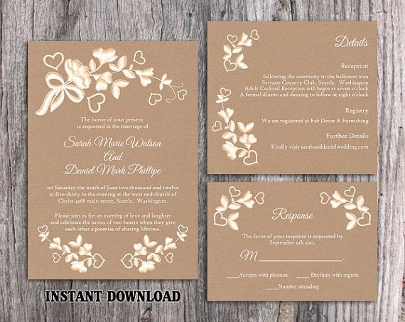 Lace Wedding Invitation Template Download Printable Etsy Diy Wedding Invitations Templates Free Printable Wedding Invitations Burlap Wedding Invitations