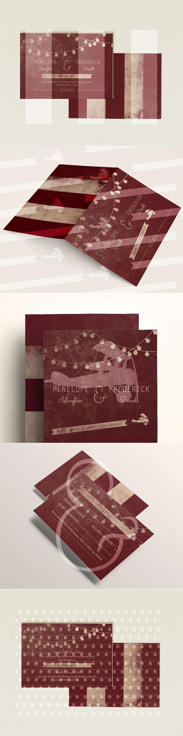 DIY Printable Wedding Invitation & Stationery Set Garland Cream ...