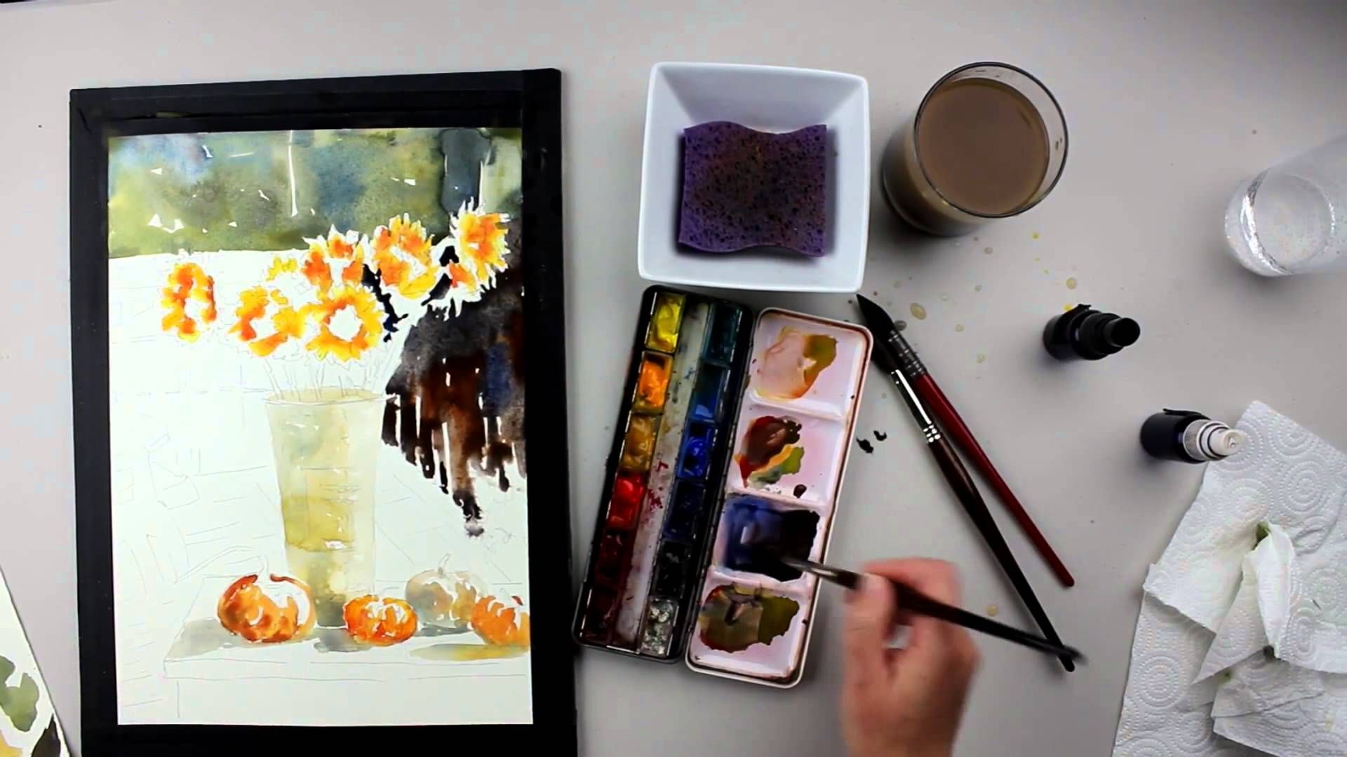 Preview Sunflower In Sunshine Watercolor Painting With Vinita