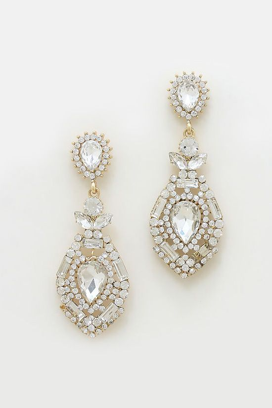 Crystal Elizabeth Earrings in Gold