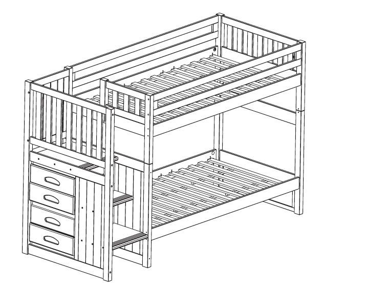 Loft Beds with staircase and drawers on the end. I would add more ...