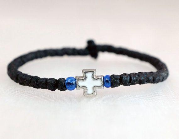 Tiny Black Cotton Prayer Rope Bracelet with beads by BYZANTINO
