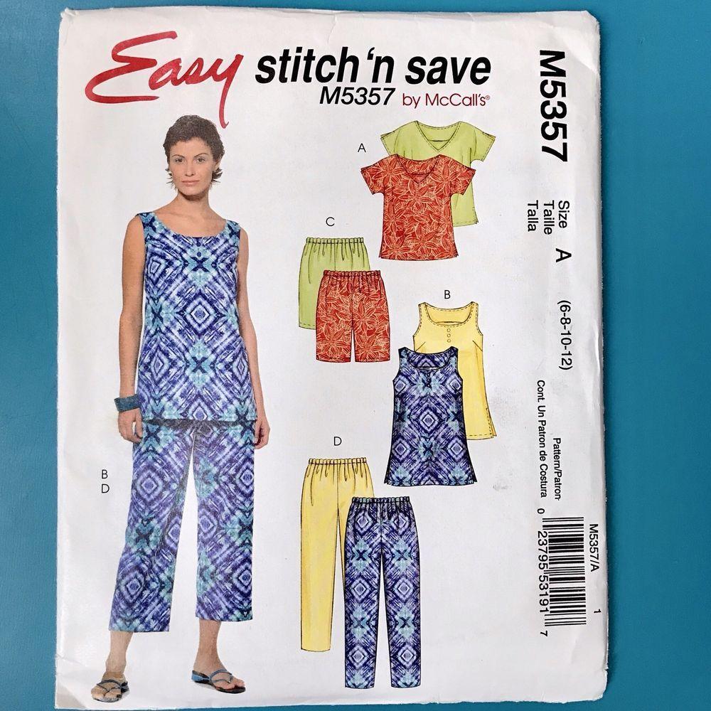Mccalls Stitch N Save 5357 Misses Top Shorts Capri Pants 6 8 10 12