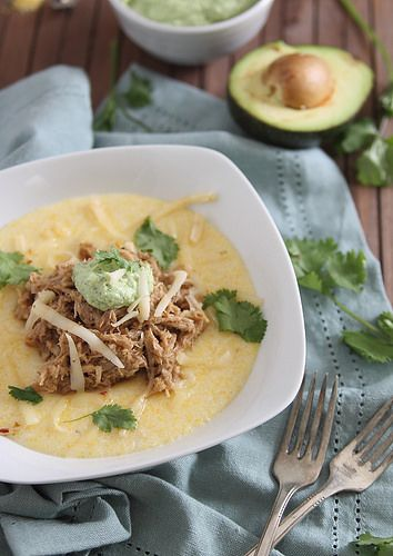 Balsamic pulled pork & polenta with avocado crema