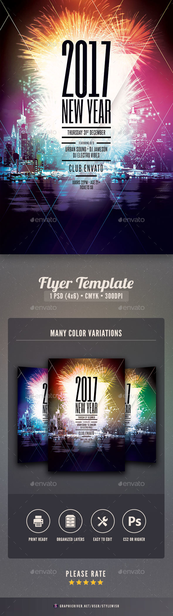 2017 new year flyer template clubs parties events