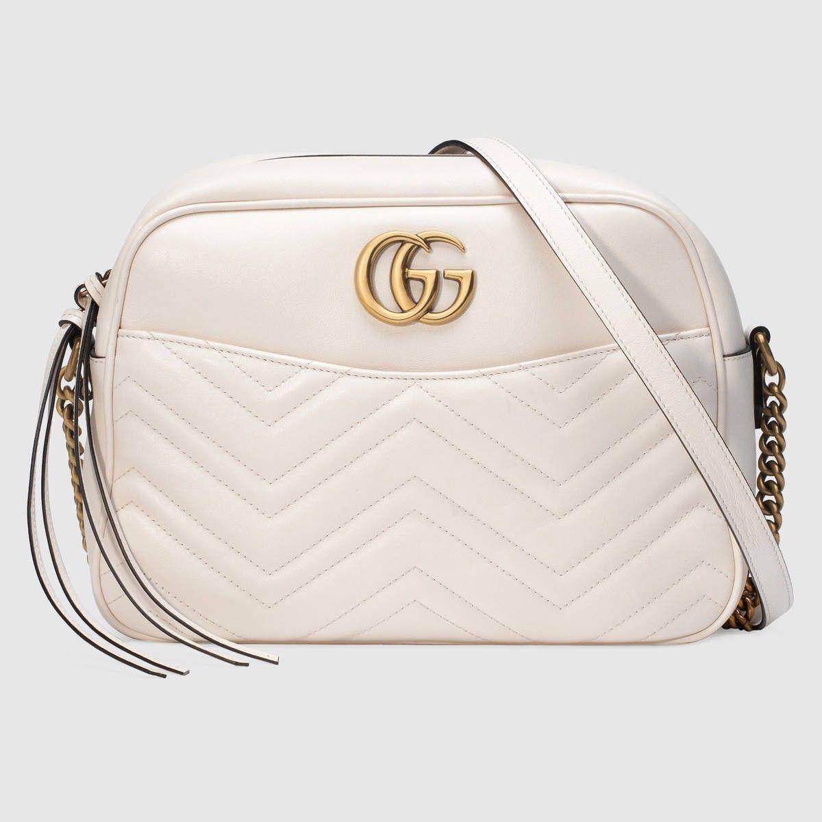 57cb0b9d0b1e White Leather 'Gg Marmont' Matelassé Shoulder Bag, M.White   White ...
