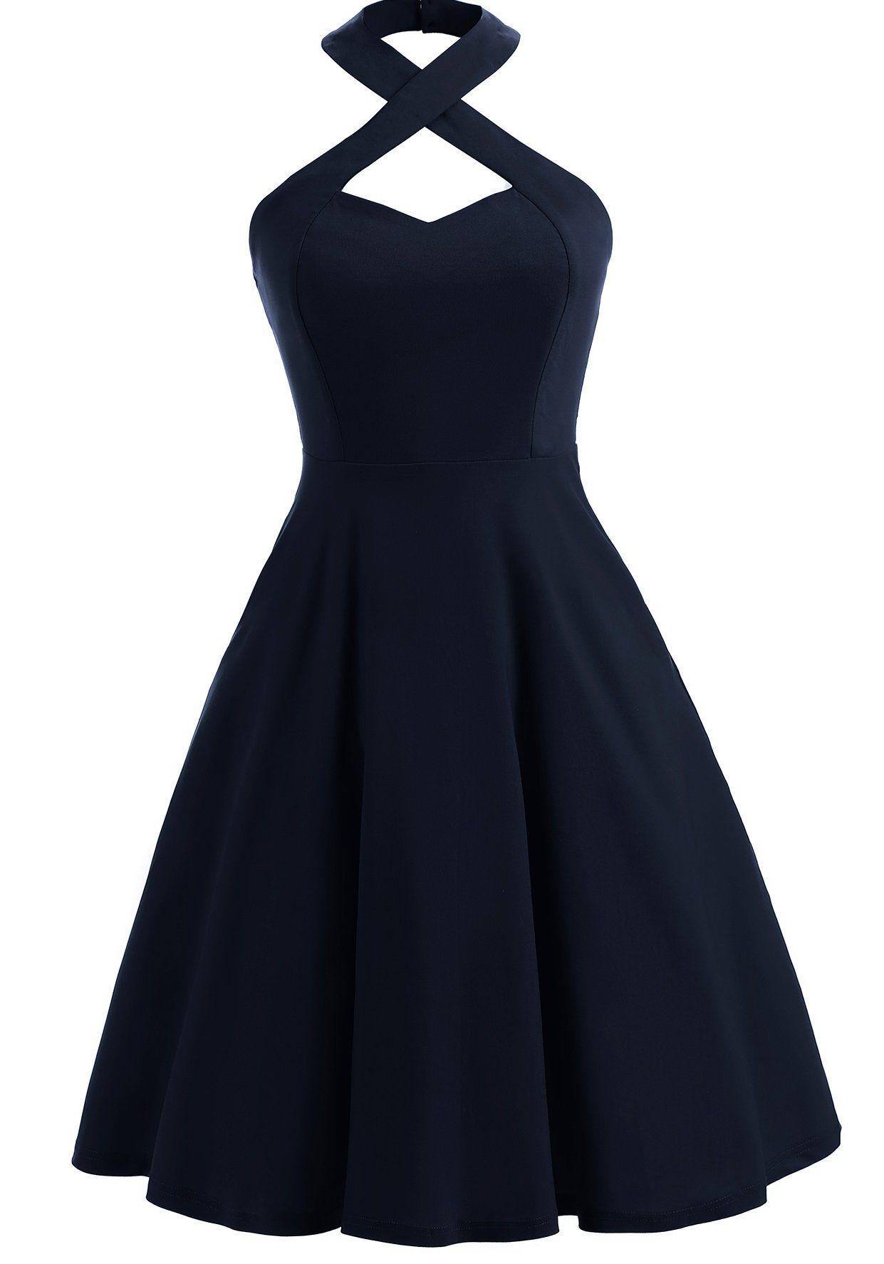 05b021ba0e4 Vintage Halter Skater Dress
