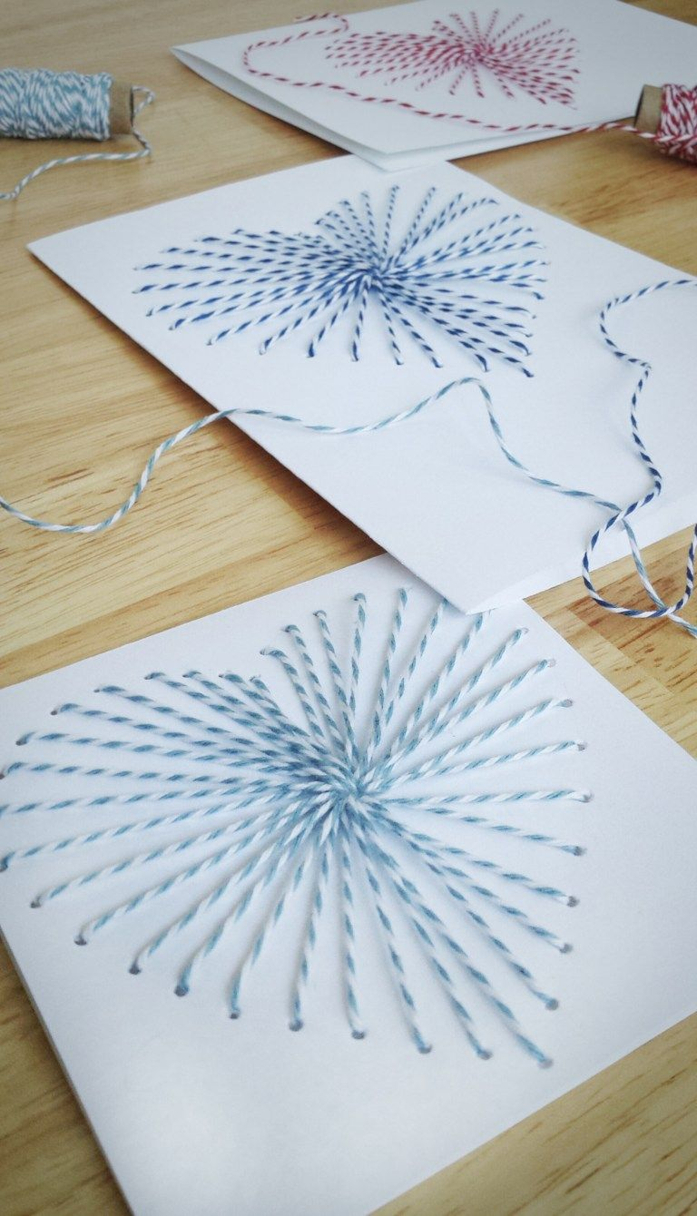 Hand-Sewn Greeting Cards with Bakers Twine