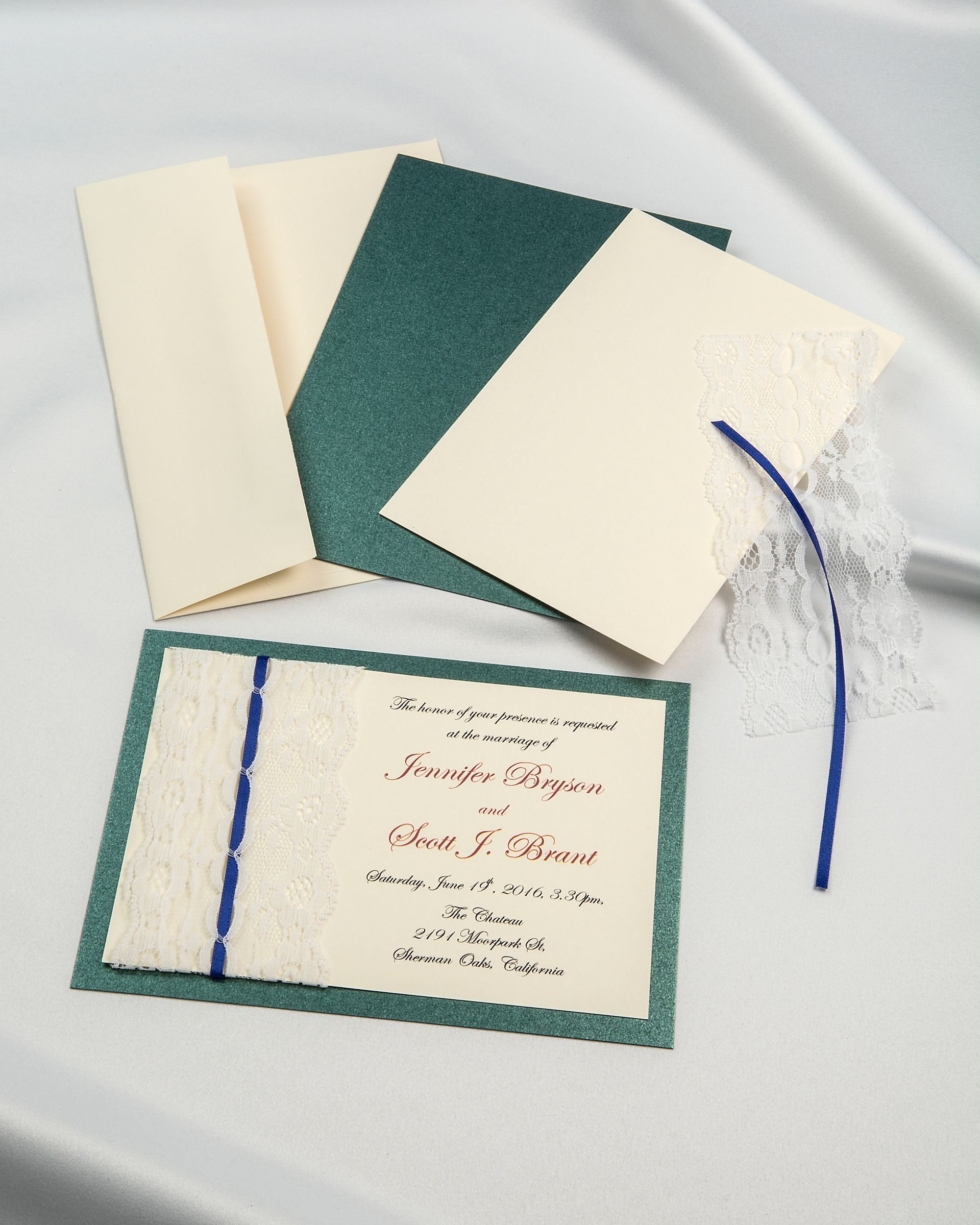 Emerald Green Shimmer Threaded Real Lace DIY Invitation With Cream Card And Blue Ribbon