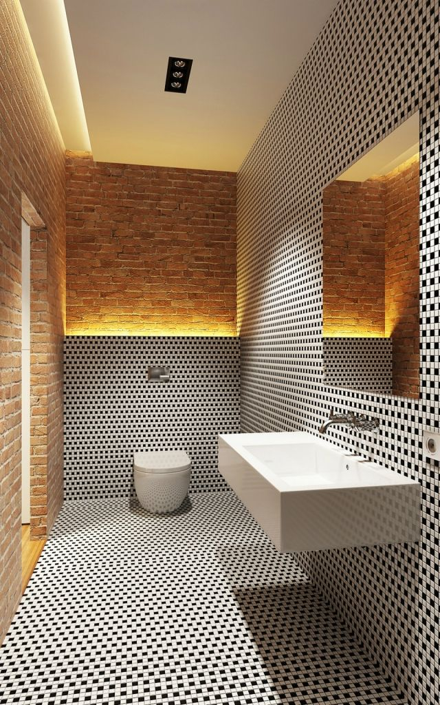 wohnideen-badezimmer-ohne-fenster-schwarz-weisse-mosaik - indirekte beleuchtung badezimmer