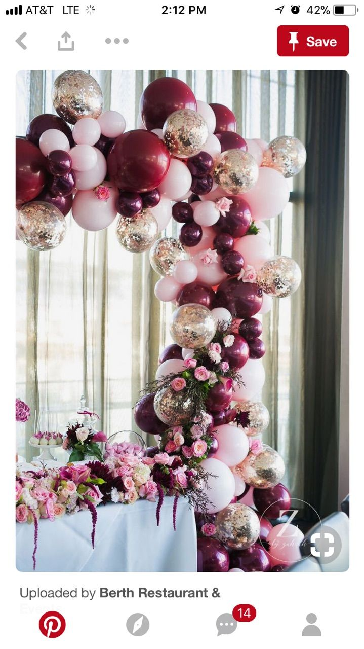 Rose Gold Soft Pink And Burgundy Elegant Balloon Arch