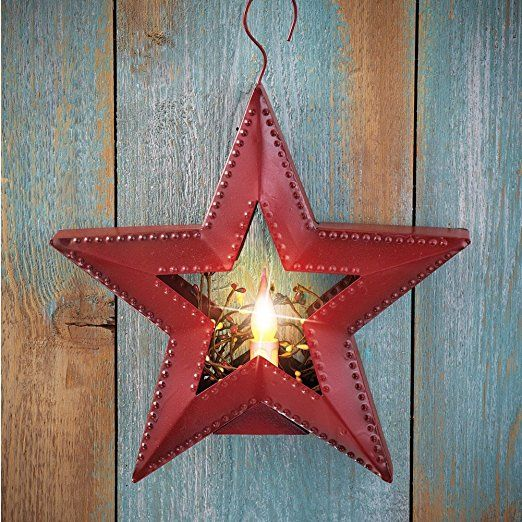 Amazon com primitive battery operated lighted country star hanging wall decor red
