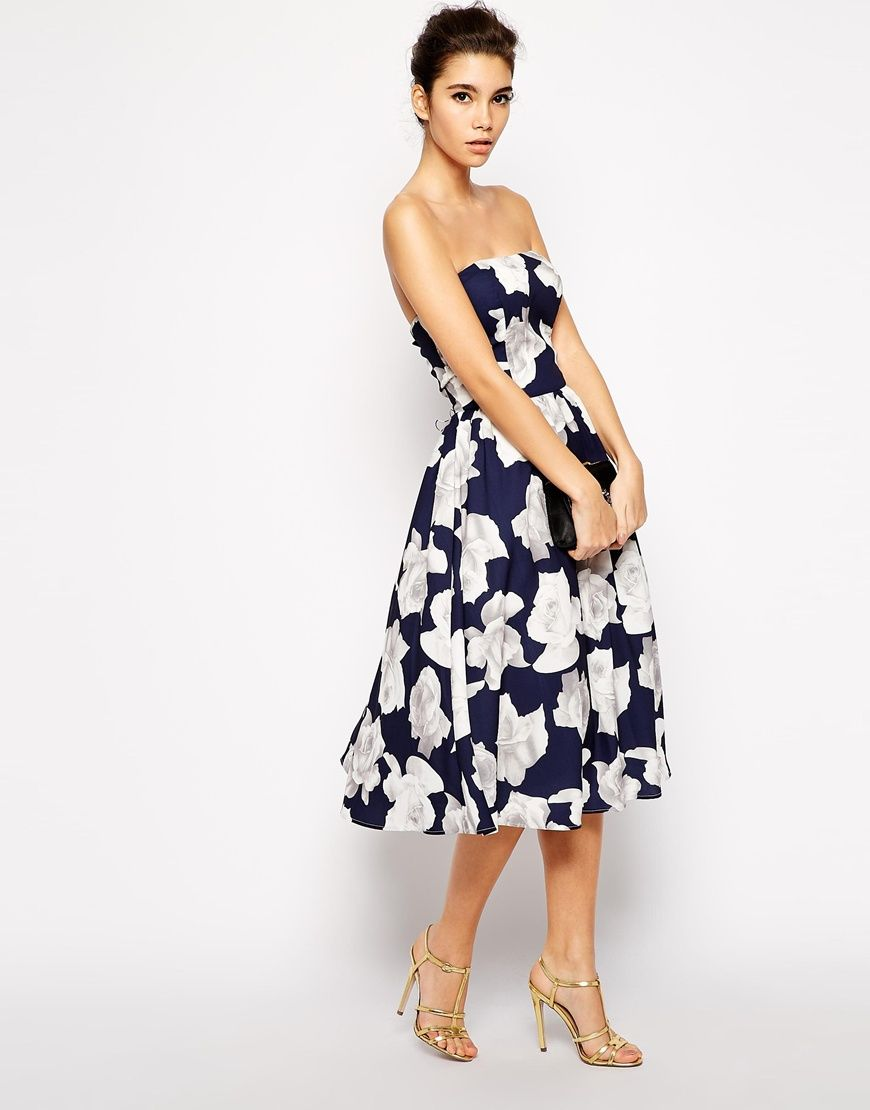 Floral print wedding dresses  Image  of Chi Chi London Bandeau Midi Full Skater Dress In Floral