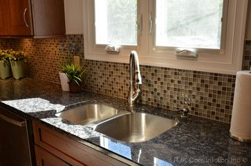Glass Tile With Baltic Brown Granite Modern Mosaic Backsplash