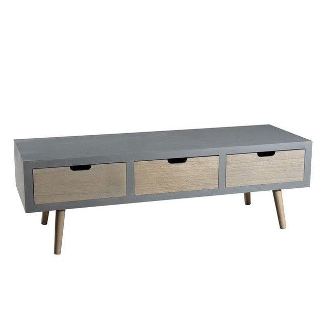 Meuble TV en bois couleur gris béton 3 tiroirs et pieds couleur