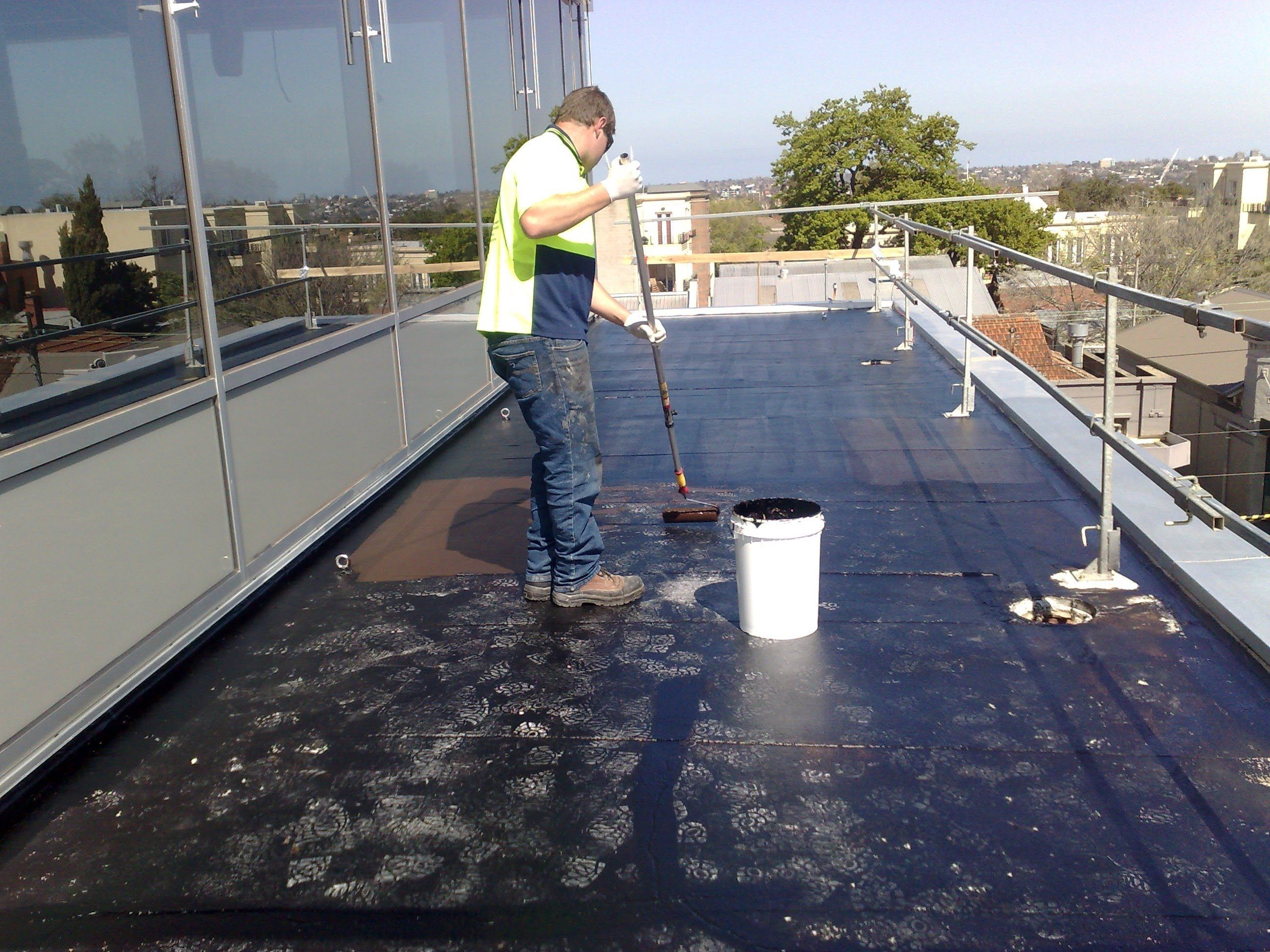 Waterproofing Flat Concrete Roof Using Liquid Rubber Balcony