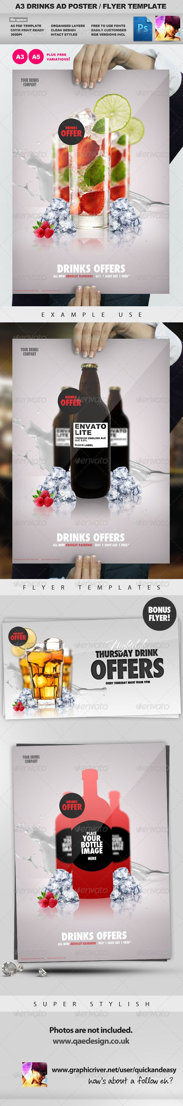 Advertising Poster Templates Extraordinary A3 Drinks Promotion Advertisement Poster Template  Pinterest .