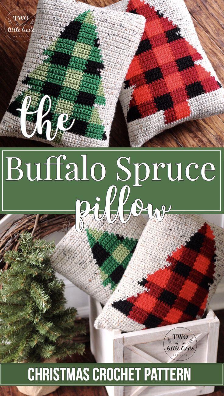 Christmas crochet pattern crochet pillow pattern buffalo plaid