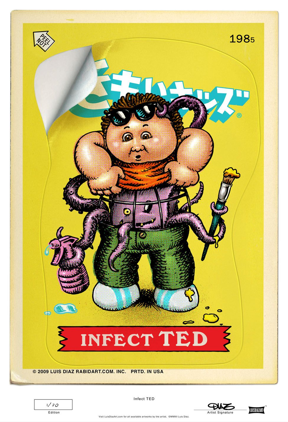 """<b>Here is """"Infect TED""""</b> Two versions are available.   24a has a yellow background with the traditional Kimoi Kizzu (disgusting kids) logo.  24b has the red background with the classic rainbow style logo.  Each artwork is printed measuring 13"""" x 19"""" and each version is limited to 20. ..."""
