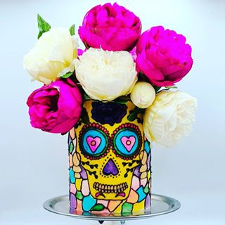 "Liz Nicolaou on Instagram: ""Super fast time lapse of my stained glass birthday cake. #cakevideo #caketutorial #stainedglasscake #birthdaycake #diadelosmuertos…"""